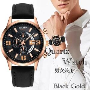 腕時計 時計 ギリシャ文字 スエードレザー ビンテージ 日付 カレンダー アナログ メンズ クォーツ オシャレ ウォッチ ゴールド 21