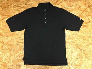 ナイキ NIKE スポーツ ゴルフ シンプル ロゴ刺繍 半袖ポロシャツ メンズ コットン100% S 黒