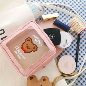 くま ポーチ ピンク milkjoy メッシュ クリア 韓国 海外1