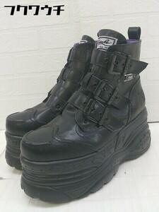 ■ ●美品● YOSUKE ヨースケ サイドジップ 厚底 ショート ブーツ サイズ24.5 ブラック レディース