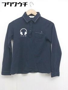◇ Munsing wear マンシングウェア ロゴ 刺繍 長袖 ポロシャツ サイズM ネイビー ホワイト メンズ