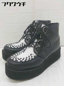 ■ YOSUKE ヨースケ サイドジップ 厚底 ショート ブーツ サイズL ブラック ホワイト レディース
