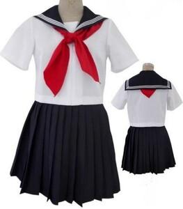 セール★コスプレ衣装★セーラー服 上下半袖+セーラー風 Tバックショーツ付=2L