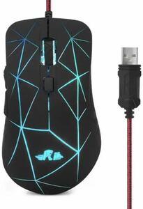 マウス 有線USB 7色RGBバックライト マウス 6ボタン4調節DPIレベル