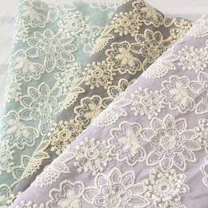 国産高級刺繍 豪華刺繍 花刺繍 コットンレース生地 刺繍レース 刺繍生地 綿レース ハギレ