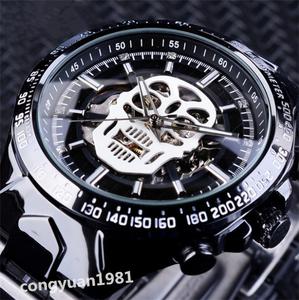 ★新作格安★メンズ腕時計 機械式 自動巻き 44m スケルトン スカルデザイン 紳士ウォッチ ステンレス 男性 カジュアル ブラック