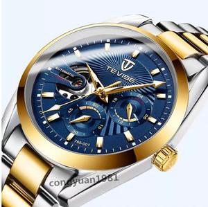 高級★男性腕時計 機械式自動巻 トゥールビヨン 24h表示 メンズウォッチ 夜光 防水 ステンレス 紳士 通勤 5色選択 ブルー◇