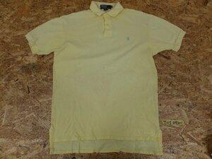 〈送料280円〉Polo by Ralph Lauren ラルフローレン メンズ ワンポイントロゴ 鹿の子 半袖ポロシャツ M 黄色