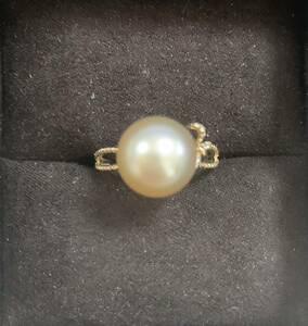 k18南洋白蝶真珠指輪 リング ナチュラルゴールド