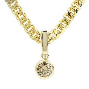 18金 ネックレス 喜平 0.50ct ブラウンダイヤモンド メンズ ゴールド 18k ダイヤ 一粒 k18 キヘイ ペンダント チェーン シンプル 送料無料