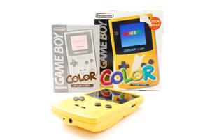 任天堂 ニンテンドー ゲームボーイカラー イエロー 箱付き Nintendo Game Boy Color Work well GBC CGB-001 [美品] #785414A