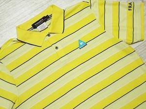 即決 ルコック ゴルフコレクション le coq sportif ポロシャツ 半袖 L イエローボーダー 黄色 さわやか 速乾性ドライ 鹿の子 マーク刺繍