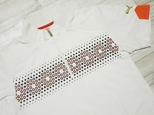 即決 プーマゴルフ PUMA GOLF 半袖 ハーフジップ ポロシャツ L ホワイト さわやか プリント 吸汗速乾ドライ サラサラ プーママーク刺繍