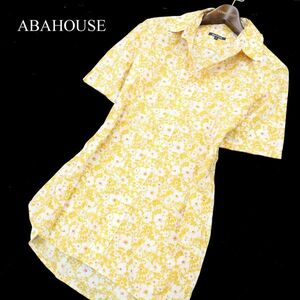 ABAHOUSE アバハウス 春夏 【花柄 総柄】 半袖 アロハシャツ Sz.4 メンズ 黄 C1T03409_5#A