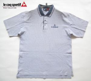 高級!!ルコックゴルフ lecoq sportif GOLF COLLECTION*ロゴ刺繍 半袖爽やか鹿の子ポロシャツ M 白×紺