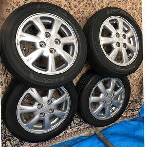 ダイハツ 純正 14インチ 4.5J +45 PCD100 4H アルミホイールYOKOHAMA/ES31/155/65R14 ラジアルタイヤ 4本セット引取り可能。