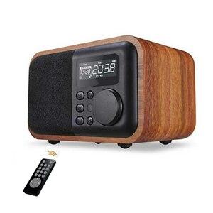 最安値 FMラジオ目覚まし時計付きワイヤレス木製スピーカー スピーカー ワイヤレス Bluetooth 木製 ウッド サブウーファー 多機能 ラジオ