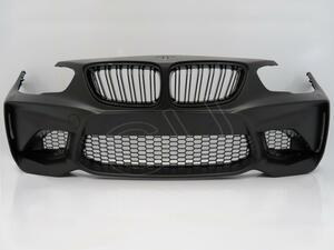 ● BMW 1 F20 LCI '15~ 後期 → M2 ルック フロント バンパー フェイス チェンジ ボディ キット エアロ キドニー グリル センサー 穴無