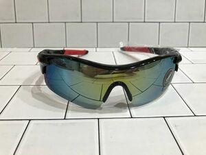 UV400 スポーツサングラス 黒/赤 ミラーレンズ 紫外線カット 割れない 強化レンズ 軽量 フィット 自転車 ロードバイク マウンテンバイク