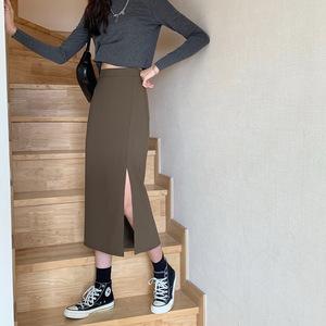 ロングスリットスカート ハイウエスト コーヒー色 サイズS レディース Aライン スリムスタイル