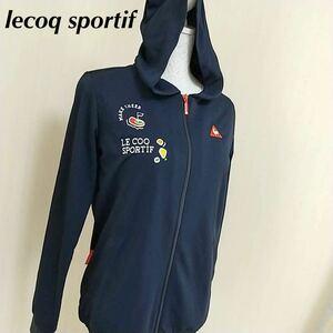 新品 lecoq sportif ゴルフ レディース L 上着 長袖 ルコック フード 紺色 ネイビー タグ付き