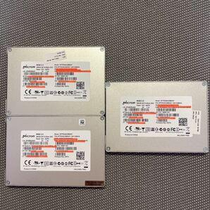 Micron SSD  2.5インチSATA 256GB三枚セット/使用時間4321,5178,6185