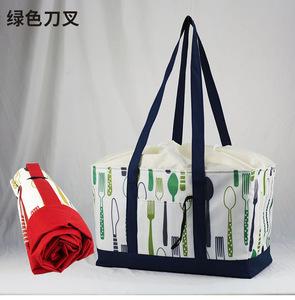 買い物バッグ レジカゴ 保冷トート 保冷トートバッグ ピクニック 大容量 折りたたみ(緑色)