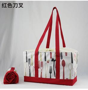 買い物バッグ レジカゴ 保冷トート 保冷トートバッグ ピクニック 大容量 折りたたみ(赤色)