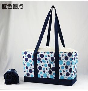 買い物バッグ レジカゴ 保冷トート 保冷トートバッグ ピクニック 大容量 折りたたみ(青色)