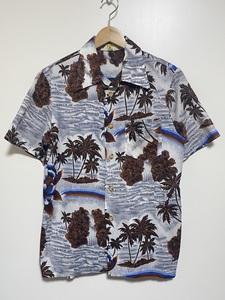 オールド古着 90's ALOHA アロハシャツ S 開襟シャツ 柄シャツ オープンカラー ポリシャツ ヤシの木 滝 ハイビスカス KOREA ビンテージ