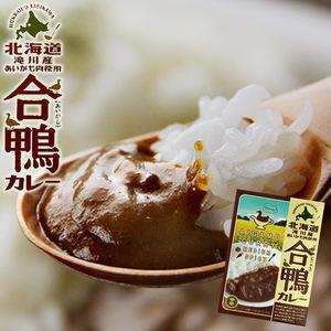 合鴨カレー180g×2個セット(中辛)北海道滝川産あいがも肉を味わい深いルーに入れて煮込みました(レトルトカレー アイガモ ご当地カレー