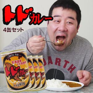 トドカレー×4個セット(辛口)北海道産トド肉使用 とどのジビエ 貴重なとど肉 アシカ科肉缶(鳥獣肉) ご当地缶詰 レトルトカレー
