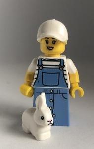 即決 新品 未使用 レゴ LEGO ミニフィグ うさぎ ペット オーバーオールの女の人 ミニフィギュア  シティ タウン