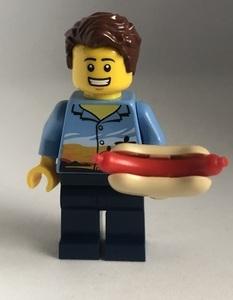即決 新品 未使用 レゴ LEGO ミニフィギュア ミニフィグ シティ タウン ホットドッグを食べる男の人 アロハシャツ
