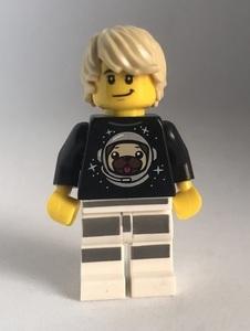即決 新品 未使用 レゴ LEGO ミニフィギュア ミニフィグ タウン シティ パグTシャツの男性 男の人 犬好き 金髪 男の子