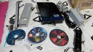 【人気】Nintendo Wii クロ 本体 Wiiリモコン ソフト3本セット