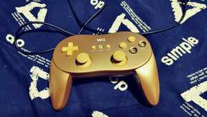 【希少】Wii WiiU クラシックコントローラーPRO ゴールド 金