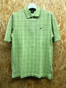 NIKE GOLF ナイキゴルフ M メンズ ポロシャツ 鹿の子 チェック柄 ワンポイントロゴ刺繍 カットソー 半袖 綿100% グリーン×ネイビー