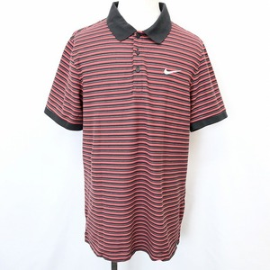 NIKE DRI FIT ナイキ ドライフィット XL メンズ 男性 ポロシャツ カットソー 鹿の子 ボーダー ロゴ刺繍 半袖 綿×ポリエステル レッド 赤