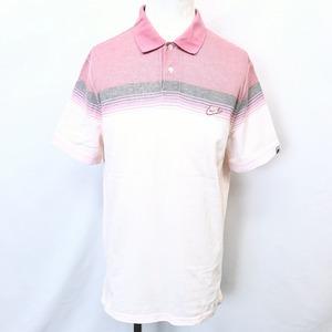 NIKE ナイキ XL メンズ 男性 ポロシャツ カットソー 鹿の子 ボーダー ロゴ刺繍 半袖 ショートスリーブ ロングテール 綿100% ピンク