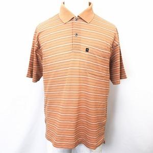 MR. JUNKO ミスタージュンコ M メンズ 男性 若干薄手 ポロシャツ カットソー 鹿の子 ボーダー 半袖 日本製 綿100% ブラウン 茶色