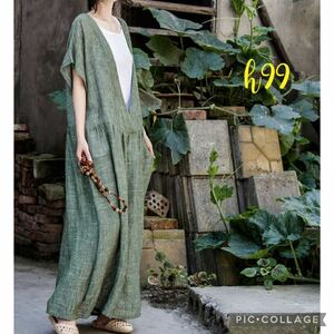 h99 新品 送料無料 レディース 夏 綿 麻 リネン ロング ワンピース マキシ丈 長め ゆったり 緑色 モスグリーン マキシワンピース 半袖 XL