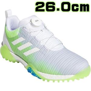 2020年 【26.0cm】アディダス メンズ コードカオス ボア スパイクレス ゴルフシューズ FV2521 ホワイトグリーンブルー 新品