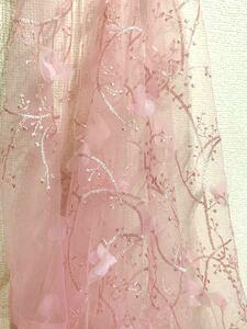 刺繍レース生地 ボタニカル柄 ピンク 花びら