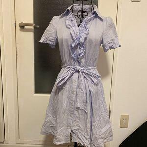シャツワンピース ストライプ 半袖シャツ ワンピース 夏 ワンピースドレス ドレス デート livinalone レディース Sサイズ フリル