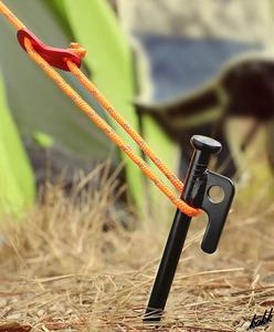 【強力ロープ&ペグ 6本セット】 鍛造式 自在金具 反射材入り テント用 タープ用 アウトドア キャンプ 旅行 レジャー