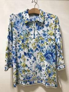 [新品] 激安・在庫処分 Lサイズ ミセス綿100%花柄ポロシャツ レディースポロシャツ 婦人ポロシャツ ブルー柄 高級綿 日本製