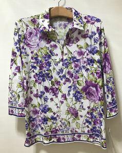 [新品] 激安・在庫処分 Lサイズ ミセス綿100%花柄ポロシャツ 綿100%レディースポロシャツ 婦人花柄ポロシャツ 七分袖 日本製