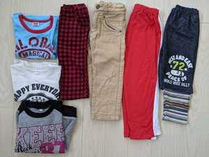 ★男の子 半袖Tシャツ+ロングTシャツ+裏起毛トレーナー+ズボン4点 100★男児子供キッズKIDS