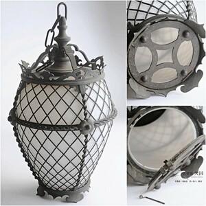 銅製 乳白ガラス ランプシェード 吊灯籠アールデコ 大正ロマン
